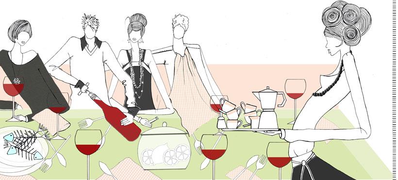 dinner party illustration girls work  u00a9 wacker eins graphic clip art happy birthday balloons graphic clip art printable
